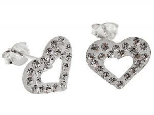 Pair of Sterling Silver Clear White Crystal Open Heart Stud Earrings